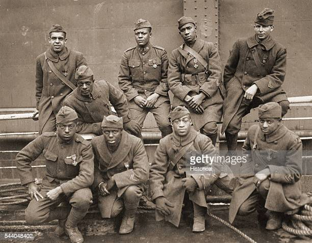 AfricanAmerican soldiers of the 369th regiment who won the Croix de Guerre for gallantry in action in WWI Unknown photographer silver print