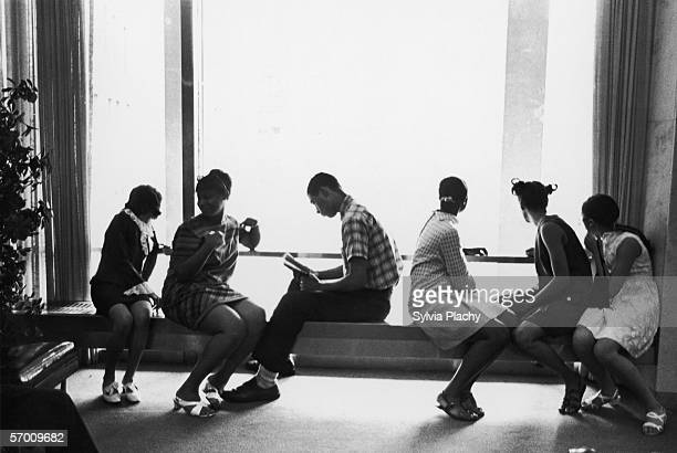 AfricanAmerican students in Ferris Booth Hall between classes at Columbia University Law School New York City circa 1960