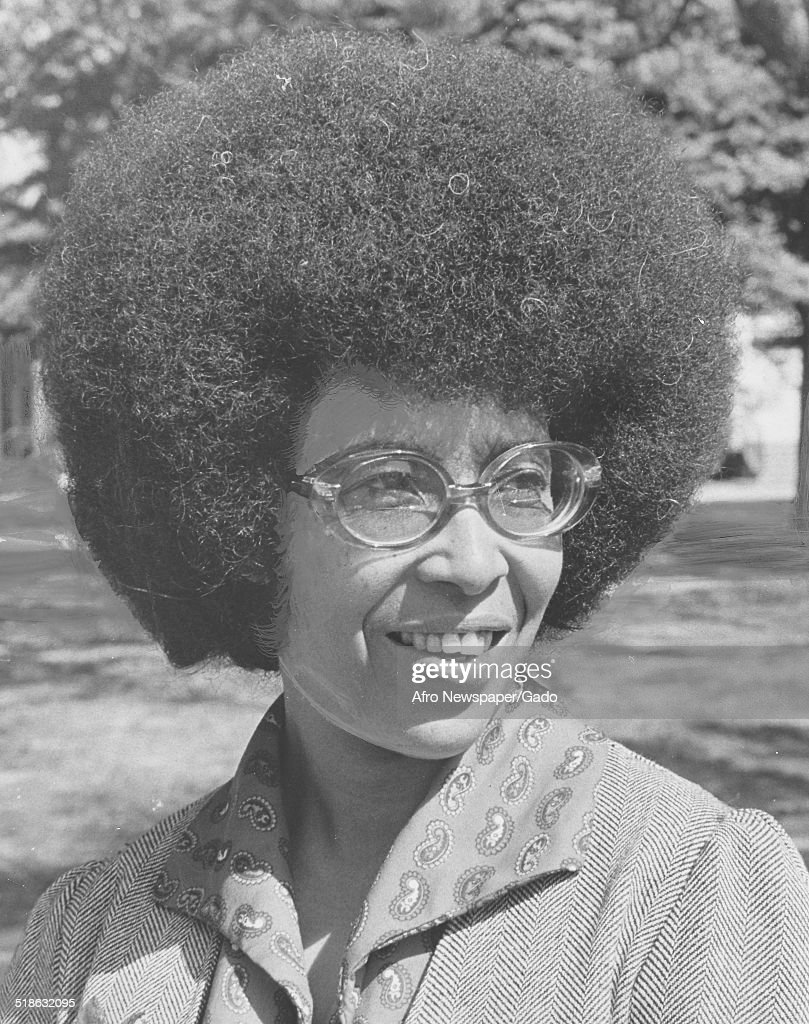 African-American woman wearing Afro haircut and glasses, Richmond, Virginia, May 17, 1975.