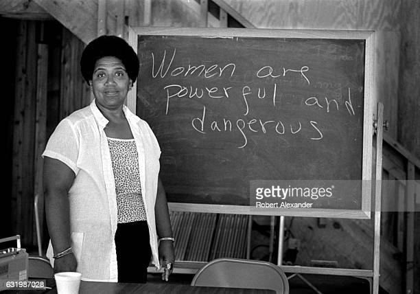 AfricanAmerican writer feminist poet and civilrights activist Audre Lorde poses for a photograph during her 1983 residency at the Atlantic Center for...