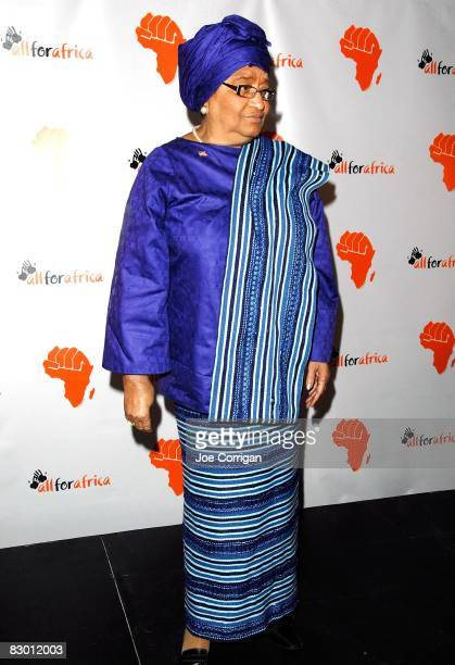 Africa's first elected female head of state and Liberia president Ellen Johnson Sirleaf attends the Knock Out Poverty event to benefit All For Africa...