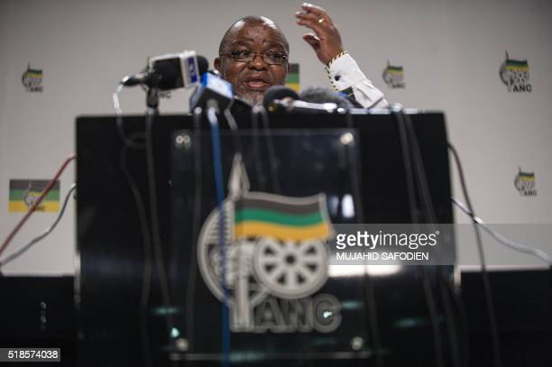 Africa's ruling African National Congress party Secretary General Gwedi Mantashe addresses members of the media on April 1 2016 in Johannesburg...