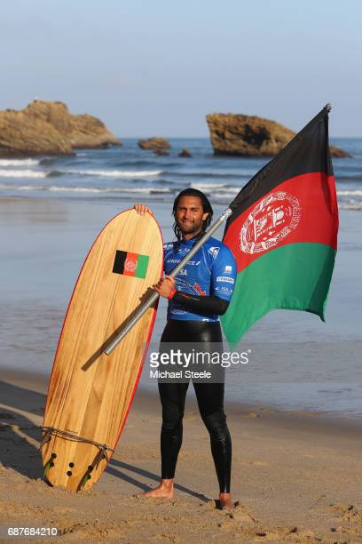 Afridun Amu of Afghanistan poses for a portrait after competing in the Men's Repechage Round 1 during day five of the ISA World Surfing Games 2017 at...