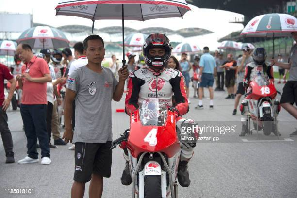 Afridza Munandar of Indonesia prepares to start on the grid of the Race 1 of Idemitsu Asia Talent Cup during the MotoGP of Malaysia Qualifying at...