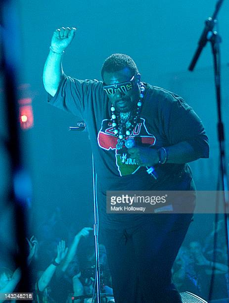 Afrika Bambaataa of Leftfield performs on stage at Brixton Academy on April 21 2012 in London United Kingdom