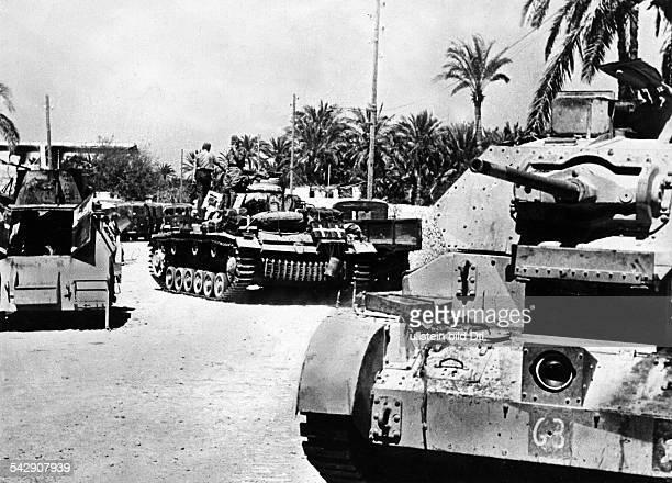 Afrikakorps Erste Offensive Rommels Deutsche Truppen haben Derna in der Cyrenaika erreicht Panzer in der Stadt iV ein erbeuteter britischer Tankum den