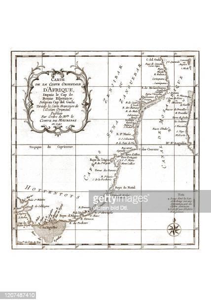 Afrika-Suedost 1740. Aus: Nicolas Bellin, Abrégé de l'Histoire générale des voyages, Paris 1780 2:2