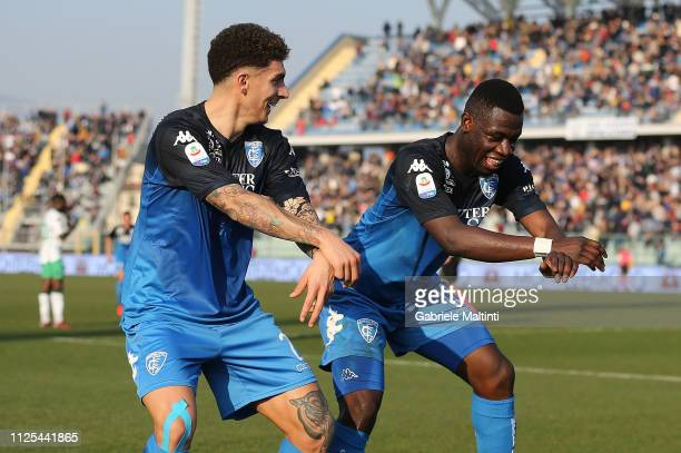 Afriye Acquah of Empoli FC celebrates after scoring a goal during the Serie A match between Empoli and US Sassuolo at Stadio Carlo Castellani on...