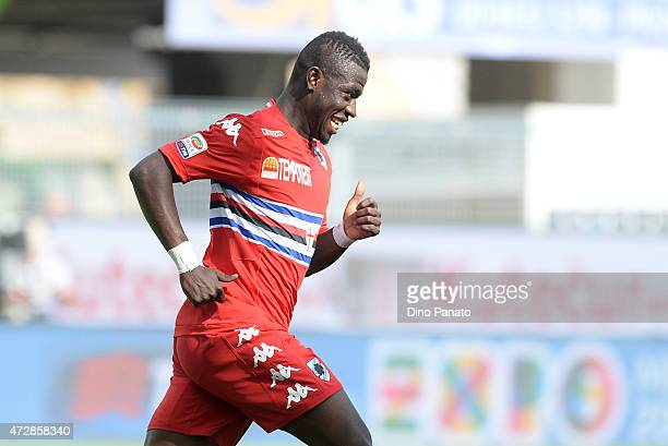 Afriye Acquah of UC Sampdoria celebrates after scoring his team's third goal during the Serie A match between Udinese Calcio and UC Sampdoria at...