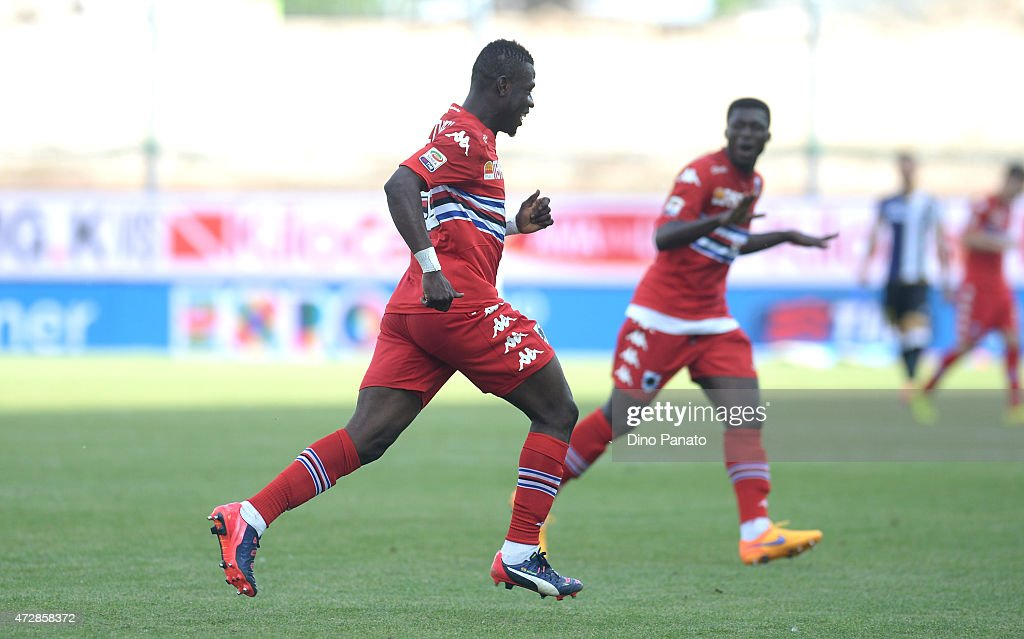 Afriye Acquah (R) of UC Sampdoria celebrates after scoring his team's third goal during the Serie A match between Udinese Calcio and UC Sampdoria at Stadio Friuli on May 10, 2015 in Udine, Italy.