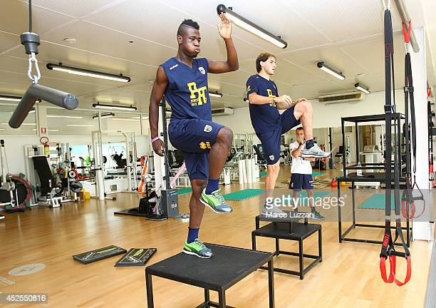 Afriyie Acquah and Gabriel Alejandro Paletta of FC Parma train in the gym during FC Parma Training Session at the club's training ground on July 23,...