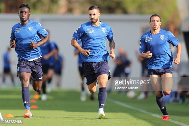 Afriyie Acquah Francesco Caputo and Ismael Bennacer of Empoli FC in action during training session on September 18 2018 in Empoli Italy