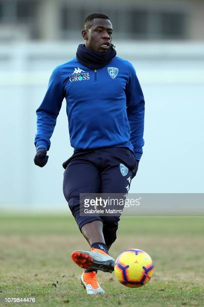 Afriyie Acquah of Empoli FC kicks the ball during training session on January 9 2019 in Empoli Italy