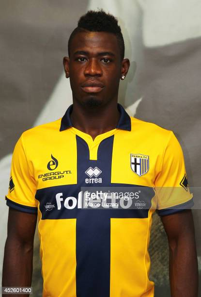 Afriyie Acquah of FC Parma poses with the new team shirt during a press conference at the club's training ground on July 24 2014 in Collecchio Italy