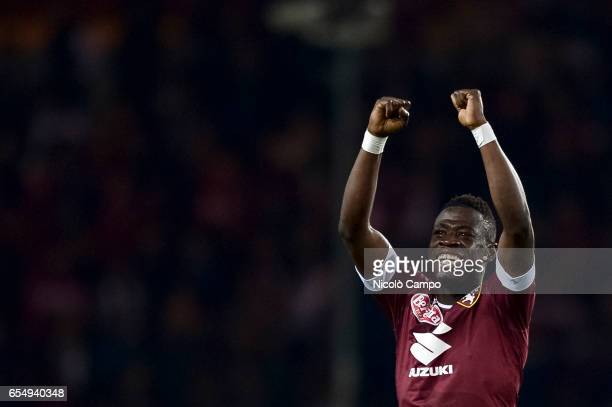 Afriyie Acquah of Torino FC celebrates after scoring a goal during the Serie A football match between Torino FC and FC Internazionale Final result is...