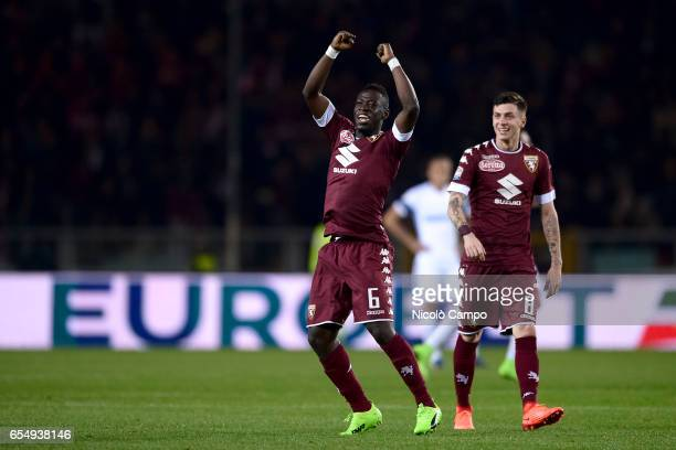 Afriyie Acquah of Torino FC celebrates with Daniele Baselli after scoring a goal during the Serie A football match between Torino FC and FC...