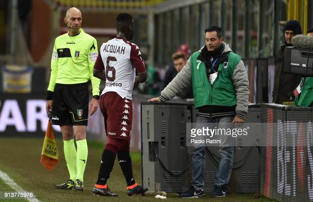 Afriyie Acquah of Torino is sent off during the serie A match between UC Sampdoria and Torino FC at Stadio Luigi Ferraris on February 3 2018 in Genoa...