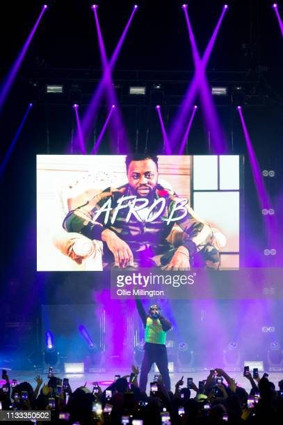 Afro B performs on stage during GRM Daily Presents The Rated Legend Tribute Show In Memory Of Cadet at Brixton Academy on March 2 2019 in London...