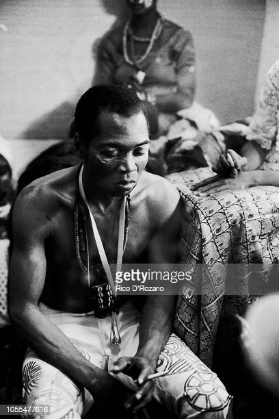 Afro Beat band leader Fela Kuti backstage Forest National Theatre Brussels Belgium 1981