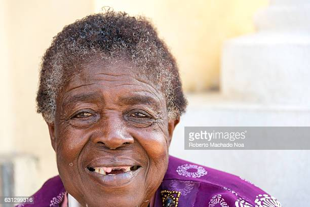 Afro Caribbean senior woman portrait Real Cuban people in their society