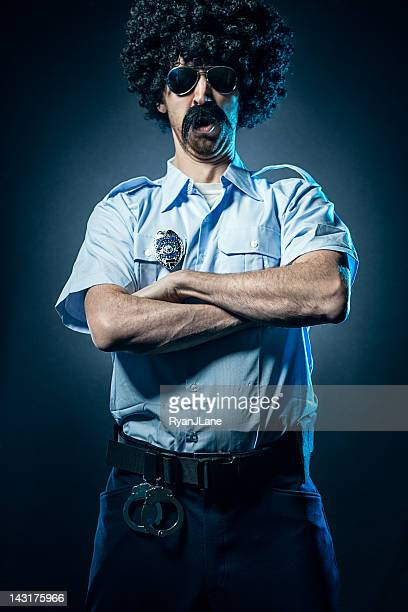 Afro Cop With Huge Mustache