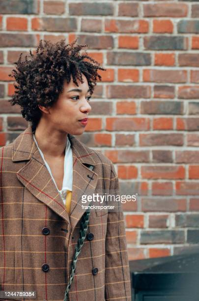 afro woman portrait on the streets - fashion show stock pictures, royalty-free photos & images