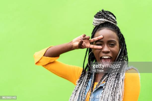 retrato de mulher afro - funky - fotografias e filmes do acervo