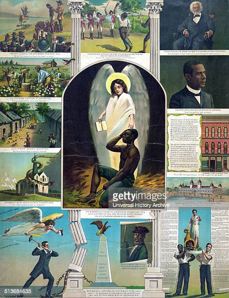 Afro-American Monument Published 1897. Composite of thirteen scenes pertaining to Afro-American history.