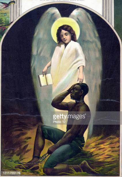 Afro-American Monument Published 1897. Slave and angel. From a series pertaining to Afro-American history.