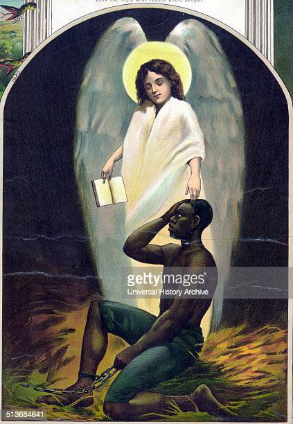 Afro-American Monument Published 1897. Slave and angel from a series pertaining to Afro-American history.