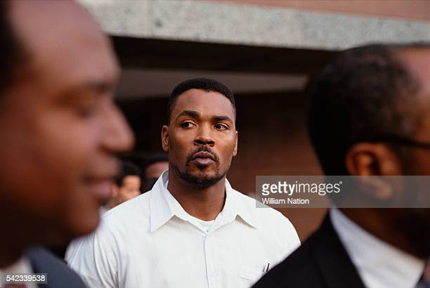 Afro-American Rodney King after the acquittal of the four LAPD officers who striked him with their batons on March 3, 1991.