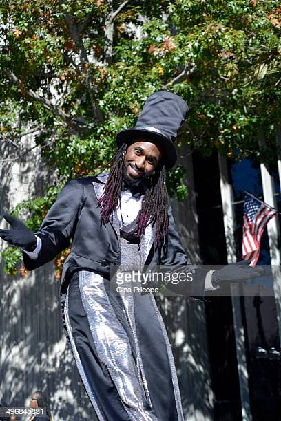 Afro-American with cylinder and tail coat parade for Martin Luther King day in Orlando January 18, 2014