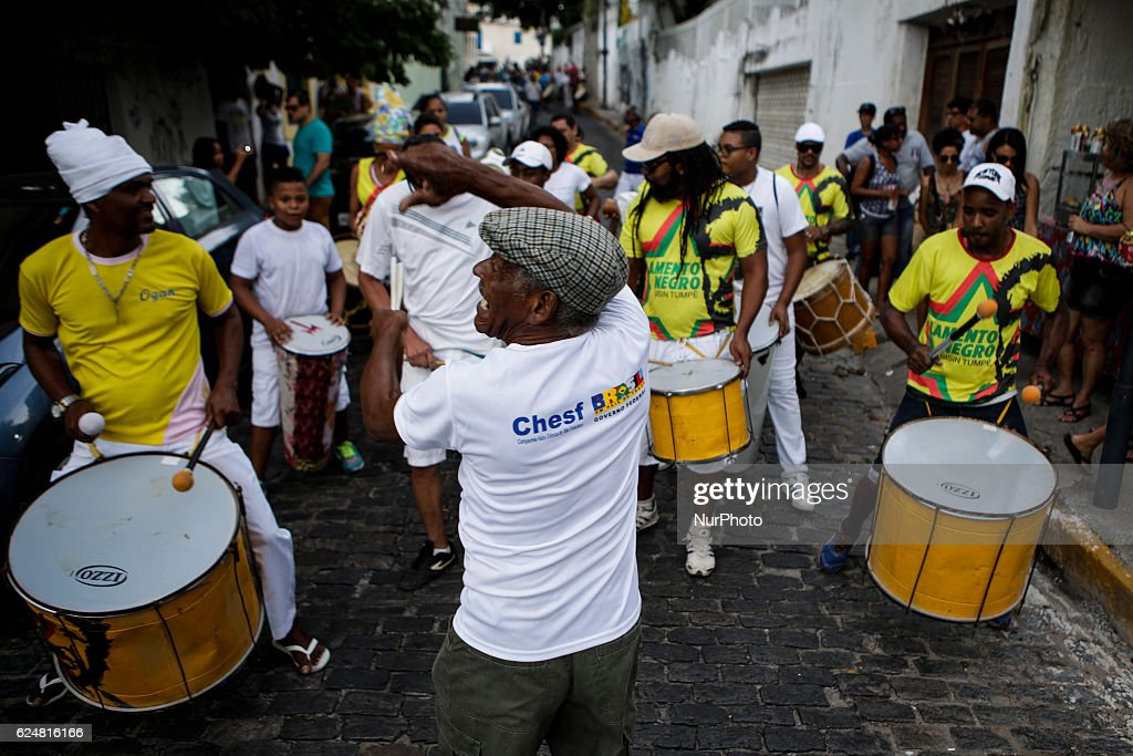 Afro-Brazilian music during presentation in the historical