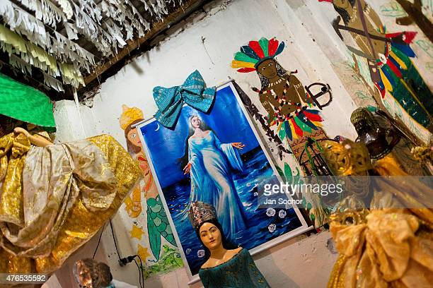 AfroBrazilian religious statues representing gods are seen in the temple in Salvador Bahia Brazil 9 February 2012
