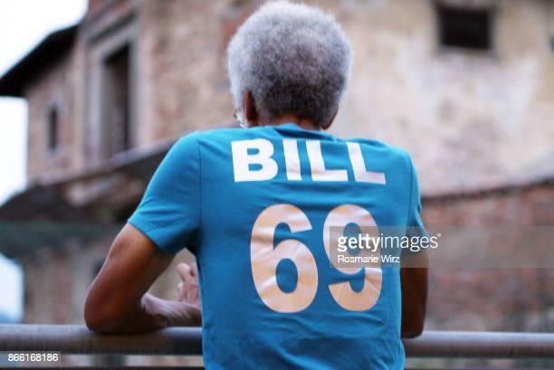 Afro-caribbean senior man in new t-shirt.