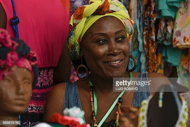AfroColombian women are photographed on AfroColombian Day on May 21 in Cali Colombia celebrating the 165th anniversary of the abolition of slavery in...