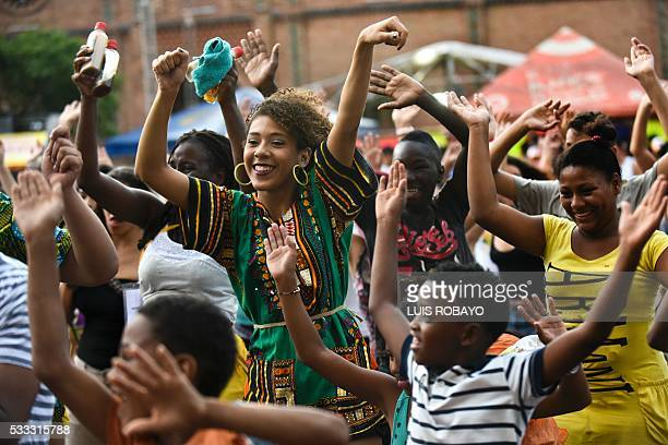 AfroColombians dance on AfroColombian Day on May 21 in Cali Colombia celebrating the 165th anniversary of the abolition of slavery in this South...