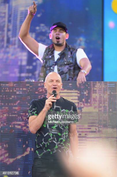 Afrojack and Sting perform on ABC's Good Morning America at Rumsey Playfield on June 27 2014 in New York City