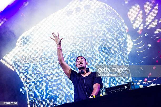 Afrojack performs on stage on Day 2 of Global Gathering 2013 on July 27 2013 in StratforduponAvon England
