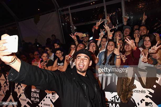 Afrojack takes a selfi with fans at the MTV EMA's 2015 at Mediolanum Forum on October 25 2015 in Milan Italy