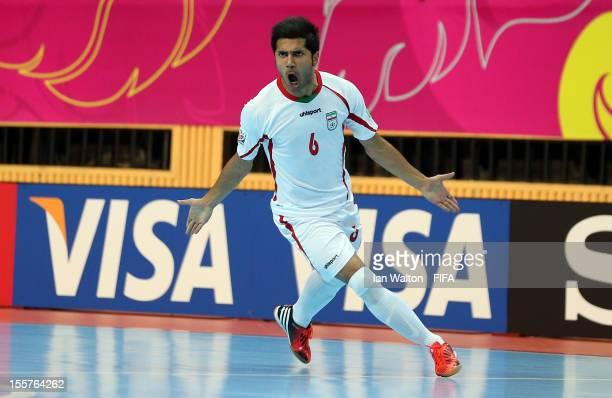 Afshin Kazemi of Iran celebrates scoring a goal during the FIFA Futsal World Cup Thailand 2012 Group B match between Iran and Panama at Nimibutr...