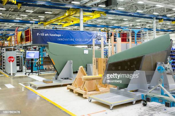 Aft fuselage components for the Boeing Co F15 Strike Eagle fighter aircraft sit at the Boeing Defense Space Security facility in St Louis Missouri US...