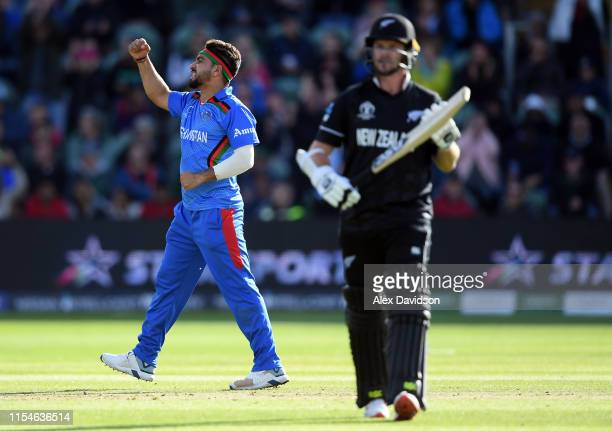 Aftab Alam of Afghanistan celebrates taking the wicket of Colin Munro of New Zealand during the Group Stage match of the ICC Cricket World Cup 2019...