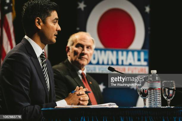 Aftab Pureval left and Steve Chabot right debated on October 16 2018 in Cincinnati Ohio at the Mayerson Jewish Community Center Chabot the incumbent...