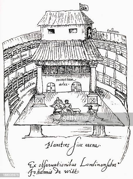 After A 1596 Sketch Of A Performance In Progress On The Platform Or Apron Stage Of The Swan Theatre Southwark London England From The Book Short...