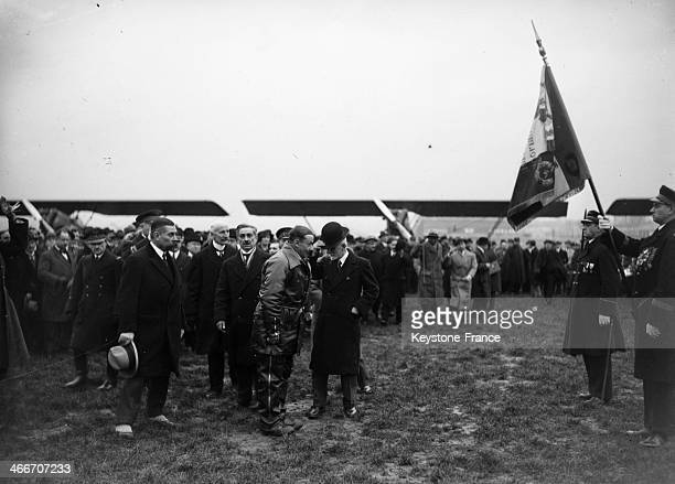 After a 35 000 km tour through French possessions in Indochina Paul Reynaud Minister of Colonies is back by plane at Le Bourget Paris airport on...