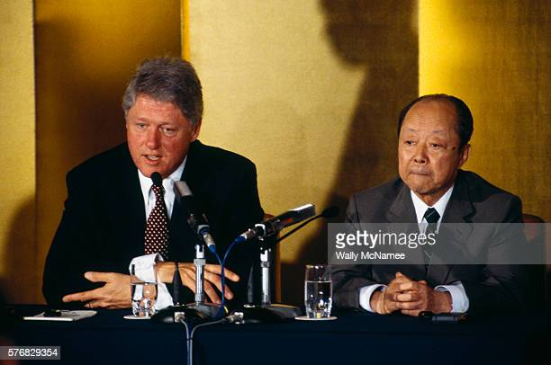 After a bilateral meeting between the US and Japan President Bill Clinton and Japanese Prime Minister Kiichi Miyazawa hold a press conference prior...