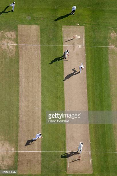 After a delayed start Australia take to the crease during day one of the npower 3rd Ashes Test Match between England and Australia at Edgbaston on...