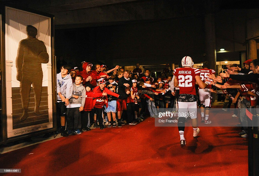 After a disappointing season riddled with injuries, running back Rex Burkhead #22 of the Nebraska Cornhuskers leaves the Memorial Stadium for the last time after their game against the Minnesota Golden Gophers at Memorial Stadium on November 17, 2012 in Lincoln, Nebraska. Nebraska won 38-14.