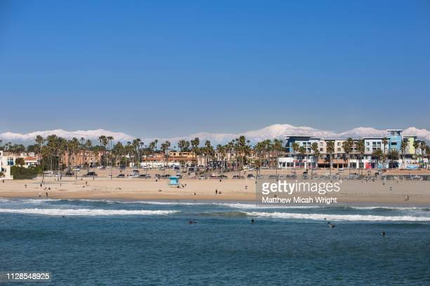 after a heavy snowfall in the southern california mountains - huntington beach stock pictures, royalty-free photos & images
